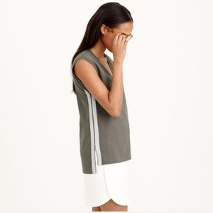 J. Crew V-Neck Sparkle Side Stripe Tank Top